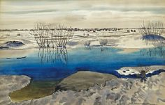 Rafał Malczewski CANADIAN LANDSCAPE, 1943 watercolour, paper Medium Art, Montreal, Poland, Winter, Art Nouveau, Watercolor, Nature, Landscapes, Paintings