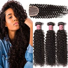 Beauty Forever Hair Brazilian Curly Virgin Hair 3 Bundles Weave with 1piece 3 Part Lace Closure for Women 100% Unprocessed Human Hair Extensions Natural Color (10 12 14  10closure) ** For more information, visit image link. (This is an affiliate link and I receive a commission for the sales) #PersonalCare