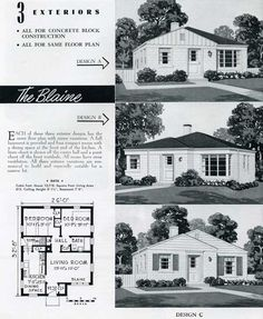 "1949 National Homes: The Blaine (very typical of small post WWII ""G.I."" type housing)"