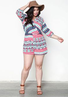 Plus Size Printed Wrapped Romper - Debshops