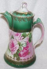 AUSTRIA CHOCOLATE POT--GREEN WITH HUGE PINK ROSES--GOLD ENCRUSTED