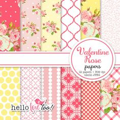 Valentine Rose vintage shabby chic digital paper by hellolovetoo, $5.00
