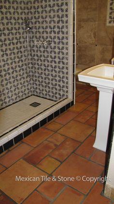 Saltillo Tile - Best Mexican Tile in AZ Terracotta Floor, Hacienda Style, Kitchen Gallery, Guest Bath, Kitchen Organization, Restoration, Bathtub, Mexican, Sierra