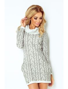 Rochie de zi scurta gri tricotata cu guler inalt casual Enigma Casual, Sweaters, Dresses, Products, Fashion, Gray Dress, Fashion Ideas, Tricot, Monochrome