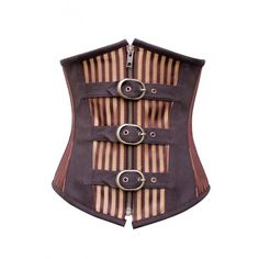 CD-605 Brown and Gold Striped Underbust with Buckles - STEAMPUNK