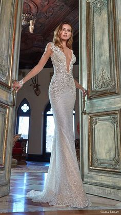 galia lahav bridal spring 2017 illusion long sleeves deep vneck beaded sheath wedding dress (bella) mv