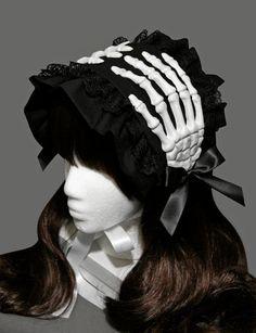 Schöne gotische Skelett Hände gekräuselten Bonnet - erhältlich in schwarz und Rosa