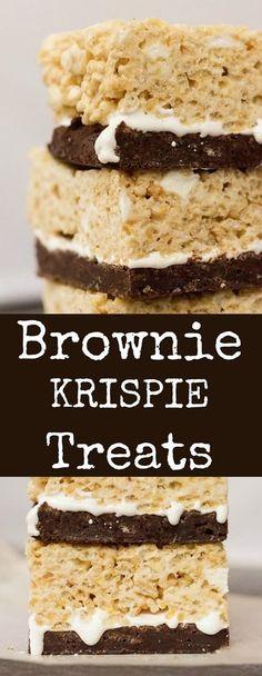 Brownie Krispie Treats Recipe - Great for Summer Dessert Bar Rice Krispy Treats Recipe, Rice Crispy Treats, Krispie Treats, Rice Crispy Pops, Best Dessert Recipes, Fun Desserts, Bar Recipes, Desert Recipes, Rice Recipes