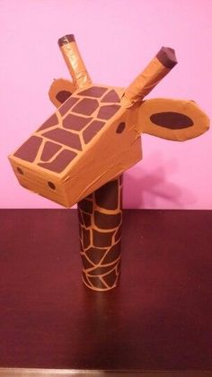 Image posts by: pookiemccool . of how my can turned out! I constructed the head out of cardboard, covered it in painter's tape and painted it. I hope you find it as adorable as I do! Safari Animal Crafts, Jungle Crafts, Giraffe Crafts, Rainforest Crafts, Rainforest Theme, Giraffe Birthday, Jungle Theme Birthday, Valentine Box, Valentine Crafts