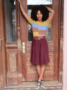 Solange wearing a cute outfit (and cute hair)