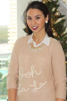 My favorite Lauren Conrad sweater by Kohls plus a bold lipstick shade~ On Brittanymichele.net