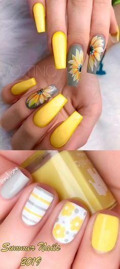 Yellow Nails Design, Yellow Nail Art, Grey Nail Designs, Cute Acrylic Nail Designs, Simple Nail Art Designs, Best Nail Art Designs, Best Acrylic Nails, Grey Nail Art, Pastel Yellow
