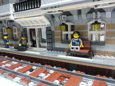 LEGO train station - Modular style - A Lego a Day #LEGO LEGO Lego