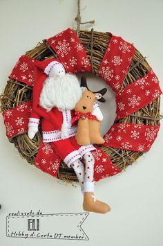 """Il laboratorio di Eli: """"... Santa Claus is coming to town!"""" Ghirlanda natalizia in stile Tilda"""