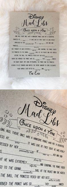 Disney mad libs. Disney bridal shower games. Disney bridal shower.