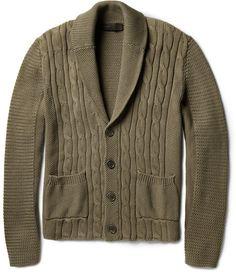 ETRO Green Cableknit Cotton Cardigan