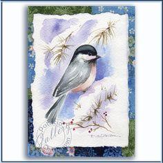Winter Chickadee Bird Watercolor Painting by PChristensenGallery, $30.00