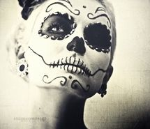 girl, face paint, paint, skull, white and black