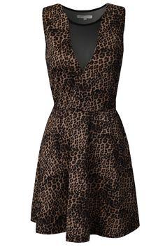 Mesh Cut Out Leopard Dress