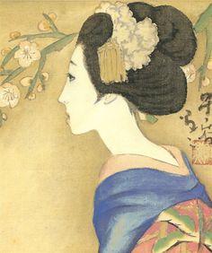 Japan antique art. illustrator / Yumeji Takehisa.   kimono beauty lady. last years of the taisyou period