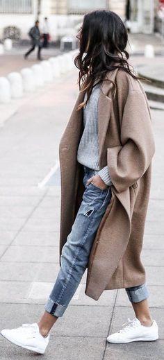 Camel Coat + Grey Knit