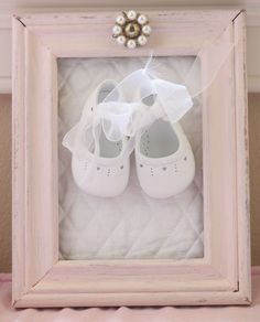 Framed baby shoes  #shabby chic OR in a glass container