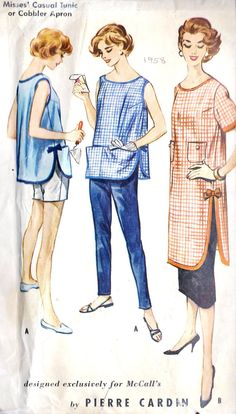 1950s Misses' Casual Tunic or Cobbler Apron, by Pierre Cardin. Vintage Sewing Pattern, McCall's 2243