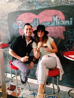 Being coupled in Miami. Grabbin' some local homemade ice cream on 8th street, a famous cultural hub in the city