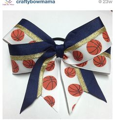 A cute basketball bow  Can be easily made
