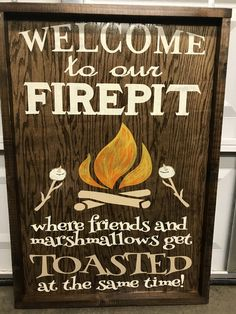 Excited to share the latest addition to my shop: WELCOME TO OUR fire pit where friends and marshmallows get toasted at the same time/camping sign/rustic sign/friends sign/backyard sign Camping Fire Pit, Backyard Camping, Outdoor Camping, Lake Camping, Camping Lights, Outdoor Fire, Outdoor Living, Camping Parties, Camping Theme