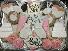 Wedding Cookie Platter decorated sugar cookies by I AM the Cookie Lady