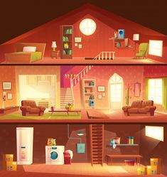 Tree-storey house or cottage cross section building cartoon vector interiors set with laundry in basement, comfortable, sunny living room or hall, studio kitchen, cozy bedroom on attic illustration Studio Kitchen, Studio Room, Episode Interactive Backgrounds, Plans Architecture, Cross Section, Scenery Wallpaper, Butterfly Wallpaper, Anime Scenery, Cozy Bedroom