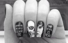 American Horror Story Tate Nails Black and white