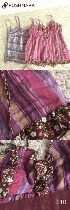Fun Boho Hippie Shirts with Stripes and Flowers Love the style!  One is blue with purple plaid and flower pattern, other is pink purple tan stripes with flowers.  Both Mossimo brand, size Medium in Juniors.  Very comfy.  Has tie back under breast section. Mossimo Supply Co Tops Tank Tops