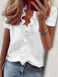 Blouse Col V, V Neck Blouse, Short Sleeve Blouse, Ruffle Blouse, Long Sleeve, Peasant Blouse, Trend Fashion, Women's Fashion, Fashion Online