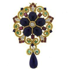 1960s Large Lapis Ruby Emerald Sapphire Diamond Gold Brooch Pendant