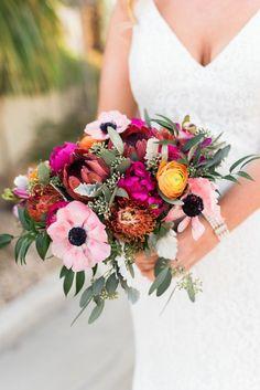 Wedding Bouquets : Colorful wedding bouquet: www. Photography: Randy and Ashley - r. Bright Wedding Flowers, Summer Wedding Bouquets, Bride Bouquets, Bridal Flowers, Flower Bouquet Wedding, Floral Wedding, Wedding Colors, Wedding Styles, Wedding Ideas