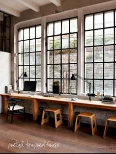 Art studio idea. Metal framed windows, long desk, utility chairs. Méchant Design: