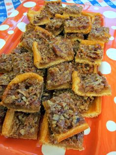 Pecan Bars ~ They are dangerously delicious!  These pecan bars are are unique in that the crust is made from a can of refrigerated crescent rolls.  The crescent rolls make this recipe simple and quick to prepare,,