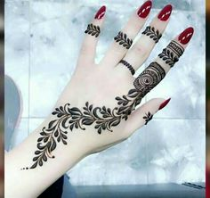 Henna Tattoo Designs - Easy Henna Tattoo Designs on Hand for Girl. Latest collection henna designs images gallery with simple and easy pattern on hand Dulhan Mehndi Designs, Mehandi Designs, Mehndi Designs For Girls, Mehndi Design Photos, Unique Mehndi Designs, Mehndi Designs For Fingers, Beautiful Mehndi Design, Latest Mehndi Designs, Henna Tattoo Hand