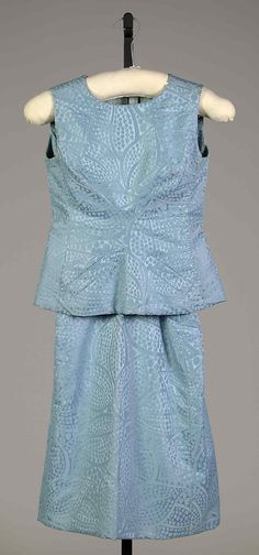 Cute Blue Flocked Cocktail Dress by Hubert de Givenchy, 1962.
