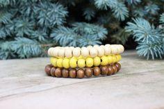 Men's Summer Inspiried Wood Bracelet Set/Yellow by BeauBishop, $19.00