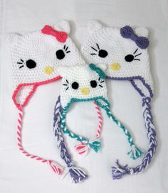 HELLO KITTY Crochet Hat PATTERN, Hello Kitty Beanie and Earflap Pattern, Newborn to Adult Sizes Included, pdf