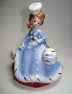 Josef Originals Lady w/ Hat Blue Dress Purse Figurine