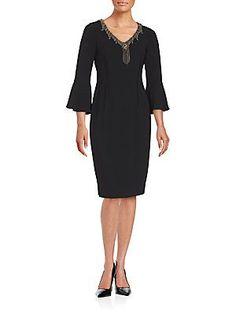 Teri Jon V-Neck Studded Dress - Black - Size