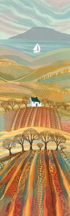 by Rebecca Vincent Northumberland-England ( ARTFINDER: Promised Land by Rebecca Vincent - The very tall format of this piece gave me the scope to include all my favourite landscape elements: the sea, the hills, valleys and trees. I used to draw hi. Landscape Quilts, Landscape Art, Art And Illustration, Landscape Illustration, Henri Rousseau, Landscape Elements, Naive Art, Art Plastique, Painting Inspiration