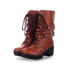 3cd47adac39 Carol Shoes Fashion Buckle Women s Studded Lace-up Rivet Chunky Middle Heel  Combat Martin Boots