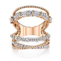 5 ROW OPEN, MIXED DIAMOND RING