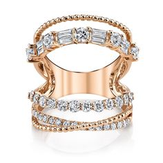 5 ROW OPEN, MIXED DIAMOND RING