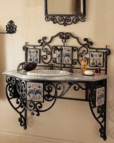 Maitland-Smith - Iron Scroll Vanity - traditional - Bathroom Vanities And Sink Consoles - Horchow